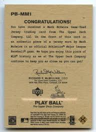 The Upper Deck Company Llc Linkedin by Lot Detail 2003 Upper Deck Play Ball Pb Mm1 Mark Mcgwire Game
