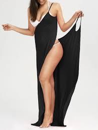beach maxi wrap slip dress in black l sammydress com