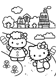 Hello Kitty Playing With Friend Coloring Page