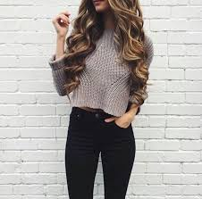 Teen Fashion Blogger Basic Winter Outfit Cropped Sweater And High Clothes For GirlsSimple