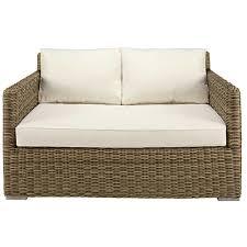 canapé de jardin 2 places canapé de jardin 2 places en résine tressée et coussins écrus