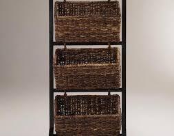 Shelf Bathroom Storage Stunning Three Rattan Towel Basket With Black Iron Stands As Rustic Ideas Prissy Smart