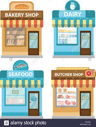Stores building set flat style Shop collection isolated on white background Fish products meat dairy bakery Vector illustration clip art
