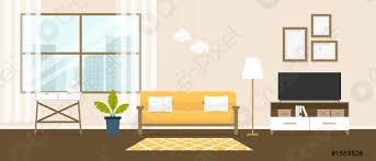 stock vector innenausstattung des wohnzimmers design eines gemütlichen zimmers mit sofa tv ständer fenster und dekor accessoires