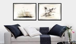 kunst gemälde fürs wohnzimmer kraniche goldene serie