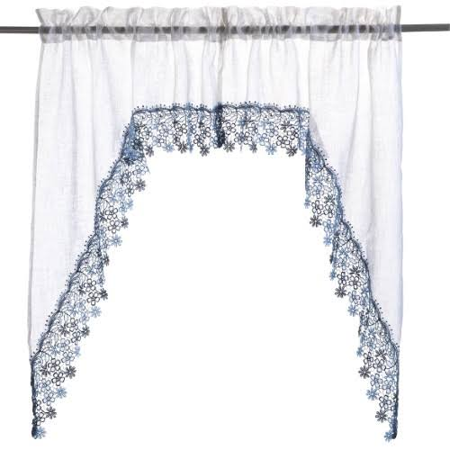 Lillian Macrame Trim Swag Blue