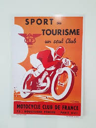 Vintage French Reproduction Poster A4 Featuring Motocycle Club De France 1903 Illustrated By Geo Ham