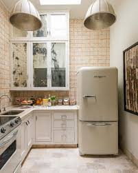 Small Kitchen With Retro Fridge And Italian Style Tile