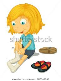Illustration Girl Putting Shoes Stock Vector