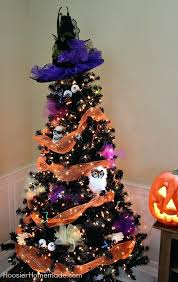 Black Halloween Tree With Orange Lights Decoration