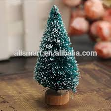 394 Mini Table Christmas Tree Decoration Cardboard Bottle Brush On Wooden Base