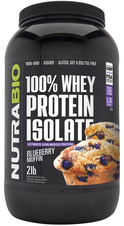 NutraBio 100% Whey Protein Isolate Blueberry Muffin 2 lbs