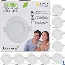 lumare led einbaustrahler 6w 400lm ultra flach 26mm einbautiefe warmweiß wohnzimmer badezimmer ip44 weiss rund 9er set