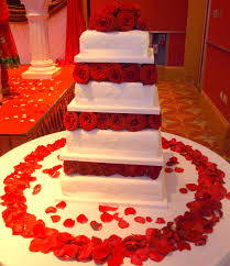 4 Tier Ruby Rose with fresh roses £410 00