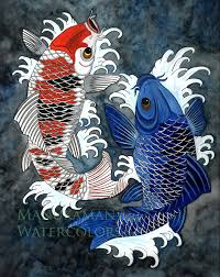 Koi Fish Print Of A Japanese Styled Watercolor By Damon Crook 11 X 14