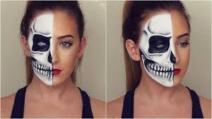 Halloween Half Mask Makeup by Half Skull Halloween Makeup Tutorial Youtube