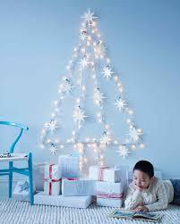 String Light Wall Tree With Felt Star Ornaments