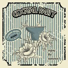 Download Vintage Cocktail Party Poster With Tropic Flowers And Typography Elements Retro Banner