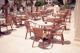 Cafeteria Outdoor Cafe Tables And Chairs Restaurant Coffee Open Air Stock Photo