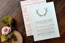 Rustic Lace And Deer Antler Wedding Invitations With Coral Choclate Brown Ink Kraft Envelope