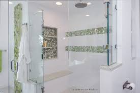 frameless shower doors in bathroom contemporary with glass tile