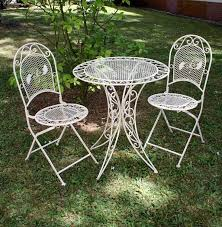 Vintage Wrought Iron Porch Furniture by Vintage Garden Furniture Set Table U0026 2 Chairs Wrought Iron