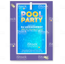 Party In Swimming Pool Poster With Advertising Message And Text Design Top View On