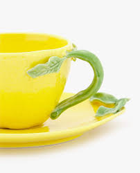 lemon shaped porcelain mug and saucer set