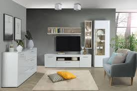 wohnzimmer hochglanz weiß 5 teilig mit led wohnwand sideboard