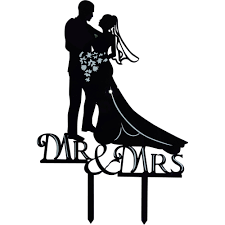 "Unik Occasions Romantic ""Mr and Mrs "" Bride and Groom Silhouette Acrylic Cake Topper Walmart"