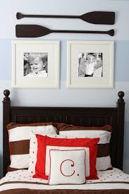 Clic Nautical Baby Room Decoration With Dark Brown Wooden Bed Frame Designed Headboard And Cozy