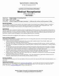 Sample Resume For Medical Records Clerk Best Of Examples Receptionist Job Elegant
