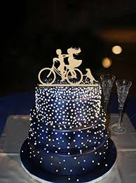 Funny Riding Bike Bride And Groom Rustic Wedding Cake Toppers With GirlsAnniversary