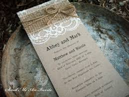 Wedding Invitation Rustic Lace And Hessian With Jute String On Recycled Kraft Card