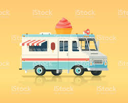 Vector Colorful Flat Ice Cream Truck Vintage Colors Concept ...