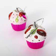 6 X Cupcake Ornaments Hanging Pendants For Christmas Tree Party Decor