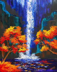 Knife Of A Waterfall With Fall Trees Rhcom Easy Simple Famous Paintings Nature Pallet