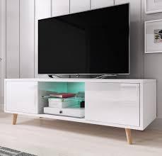 tv lowboard 1 in weiß hochglanz fernsehtisch skandinavisch 140 x 45 cm