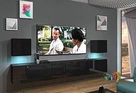 home direct lace n22 1a modernes wohnzimmer wohnwände wohnschränke schrankwand schwarz weiß hochglänzend an22 18b hg1 1a schwarz led rgb 16