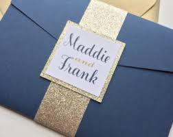 Royal Blue Glitter Wedding Invitation Suite In Pocketfold Trifold Invite Set Pocketfolder Invitations