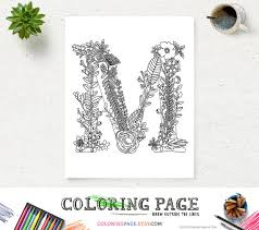 Floral Alphabet Printable Coloring Page Letter M Instant Download Digital Art Zen Pages Adult Anti Stress Therapy