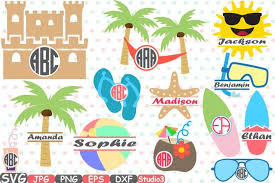 Sand Castle Clipart Summer Sun Beach Frames Split Circle Svg Silhouette Cricut