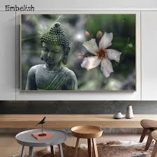1 stück neue design buddha statue mit blume moderne kunstwerke für wohnzimmer wand kunst bilder home decor hd leinwand gemälde