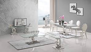 hg royal estates gmbh esstische edelstahl esszimmer tisch glastische glas hochglanz 160x90x76 cm