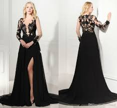 Vintage 2016 Long Sleeve Prom Dress With Front Side Split V Neck See Through Bodice Black Slit Evening Formal Cocktail Party Wear Dresses