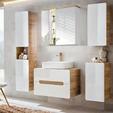 details zu komplett badmöbel set hochglanz keramik waschtisch led spiegelschrank badezimmer