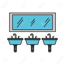 drei waschbecken spiegel für wc badezimmer ausrüstung vektor illustration