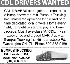 100 Cdl Trucking CDL Drivers Bumpus Washington Court House OH