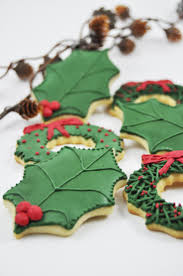 Christmas Tree Meringues by Christmas Holly One Dozen Iced Sugar Cookies Christmas