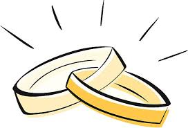A drawing of two gold wedding rings linked to her vector art illustration